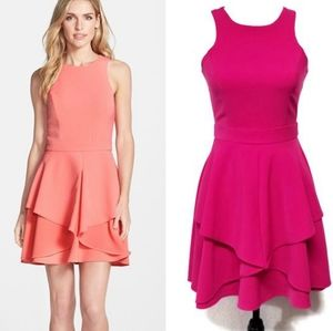 Adelyn Rae Ruffle Front Fit & Flare Pink Dress XS
